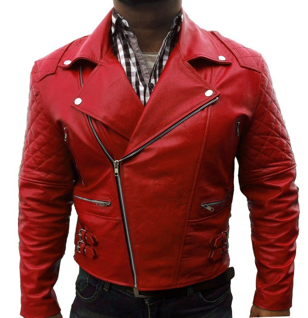 leather404 Clothing, Shoes & Accessories:Men's Clothing:Coats & Jackets s Red Ribbed Fashion Leather jacket for Men's Red Leather jacket