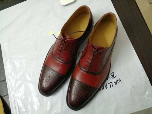 leather404 Clothing, Shoes & Accessories:Men's Shoes:Dress Shoes Handmade Burgundy Brown Leather Cap Toe Brogue Shoes