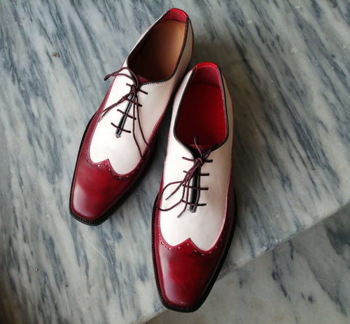 leather404 Clothing, Shoes & Accessories:Men's Shoes:Dress Shoes Men's Leather Wing Tip White Burgundy Shoes