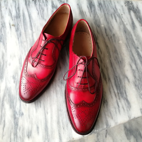 leather404 Clothing, Shoes & Accessories:Men's Shoes:Dress Shoes Men's Leather Wing Tip Brogue Burgundy Shoes