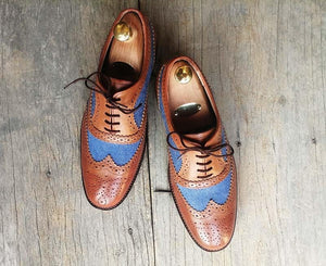 leather404 Clothing, Shoes & Accessories:Men's Shoes:Dress Shoes Brown Wing tip Brogue Leather and Denim shoes