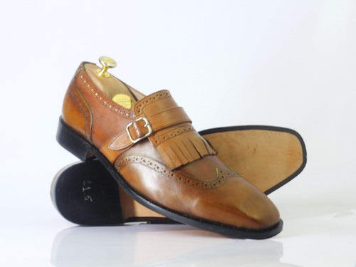 leather404 Clothing, Shoes & Accessories:Men's Shoes:Dress Shoes Handmade Brown Fringe Monk Straps Leather Shoes For men's