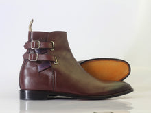 leather404 Clothing, Shoes & Accessories:Men's Shoes:Boots Ankle High Burgundy Double Buckle Leather Men's Boot