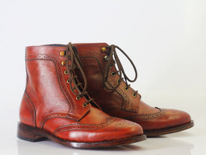 leather404 Clothing, Shoes & Accessories:Men's Shoes:Boots Ankle Brown Wing Tip Brogue Leather Lace Up Men's Boot