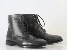 leather404 Clothing, Shoes & Accessories:Men's Shoes:Boots Ankle Black Wing Tip Brogue Leather Lace Up Men's Boot