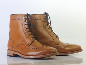 leather404 Clothing, Shoes & Accessories:Men's Shoes:Boots Ankle Tan Wing Tip Brogue Leather Lace Up Men's Boot