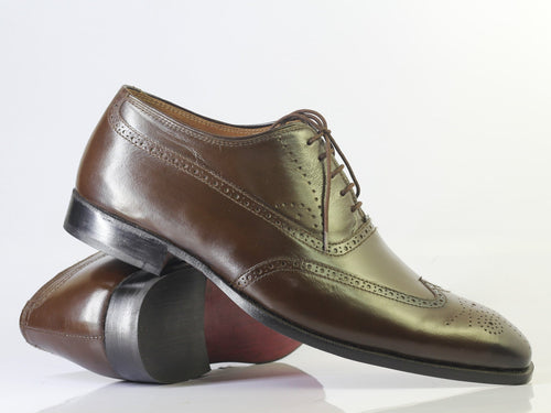 leather404 Clothing, Shoes & Accessories:Men's Shoes:Dress Shoes Handmade Brown Wing Tip Brogue Executive Oxford Leather Shoes