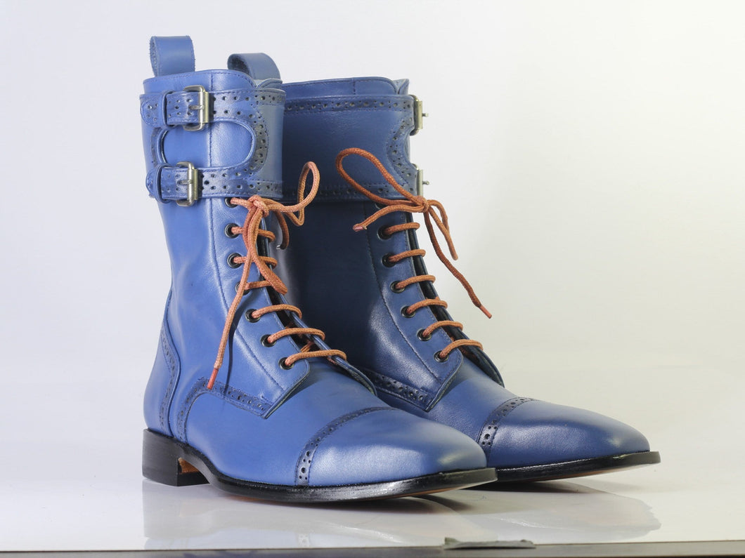 leather404 Clothing, Shoes & Accessories:Men's Shoes:Boots Handmade Blue Cap Toe Ankle High Lace 0Up Buckle Ankle High Boot