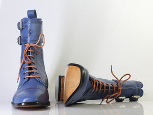 leather404 Clothing, Shoes & Accessories:Men's Shoes:Boots Handmade Blue Cap Toe Ankle High Lace Up Buckle Ankle High Boot