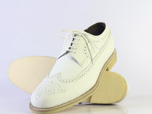 leather404 Clothing, Shoes & Accessories:Men's Shoes:Dress Shoes Handmade Men's Stylish Brogue Shoes, Men's Wing tip White Leather Lace Up shoes