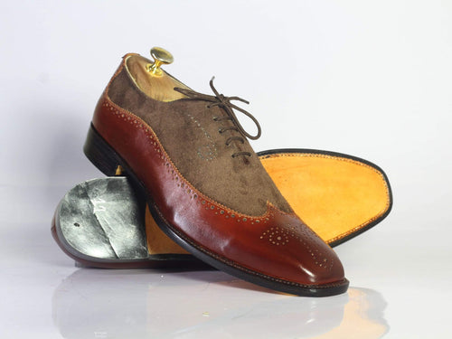 leather404 Clothing, Shoes & Accessories:Men's Shoes:Dress Shoes Handmade 2 Tone Wing Tip Brogue Leather Suede Men's Shoes