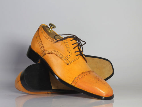 leather404 Clothing, Shoes & Accessories:Men's Shoes:Dress Shoes Handmade Tan Cap Toe Brogue Leather Men's Shoes