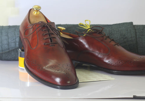leather404 Clothing, Shoes & Accessories:Men's Shoes:Dress Shoes Handmade Burgundy Brogue Toe Leather Shoes For Men's