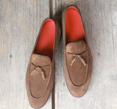 leather404 Clothing, Shoes & Accessories:Men's Shoes:Dress Shoes Men's Loafers Brown Tussles Suede Shoes