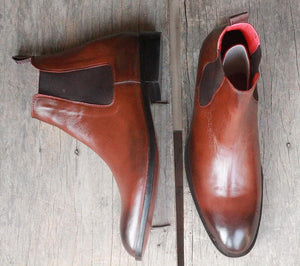 leather404 Clothing, Shoes & Accessories:Men's Shoes:Boots 2 Tone Chelsea Leather Boot
