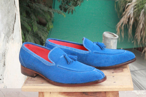leather404 Clothing, Shoes & Accessories:Men's Shoes:Dress Shoes Slip On Blue Loafers Suede Split Toe Shoes