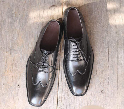 Handmade Black Lace Up Wing Tip Shoes