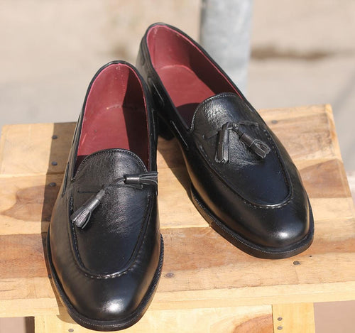 leather404 Clothing, Shoes & Accessories:Men's Shoes:Dress Shoes Loafers Tussles Black Handmade Round Toe Shoes