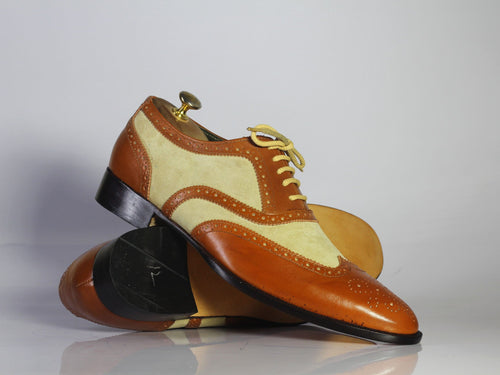 leather404 Clothing, Shoes & Accessories:Men's Shoes:Dress Shoes Brown Beige Wing Tip Brogue Leather Suede Men's Shoes