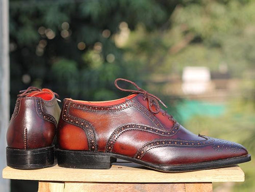 leather404 Clothing, Shoes & Accessories:Men's Shoes:Dress Shoes Men's Brown Wing tip Oxford Brogue