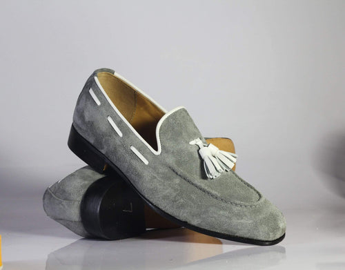 leather404 Clothing, Shoes & Accessories:Men's Shoes:Dress Shoes Handmade Gray Loafers Suede Tussles Shoes