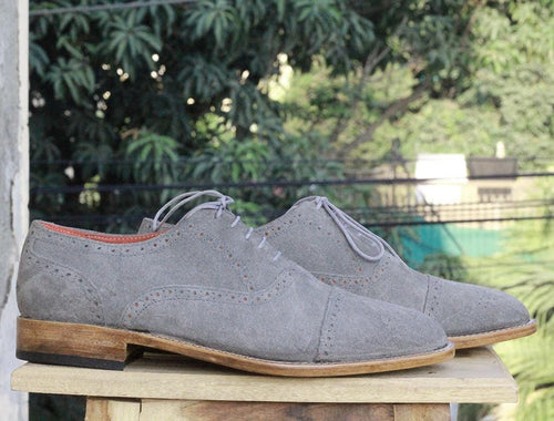 leather404 Clothing, Shoes & Accessories:Men's Shoes:Dress Shoes Men's Gray Cap Toe Brogue Suede Shoes