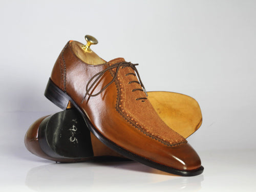 leather404 Clothing, Shoes & Accessories:Men's Shoes:Dress Shoes Handmade Brown Square Toe Men's Brown Leather Suede Shoes