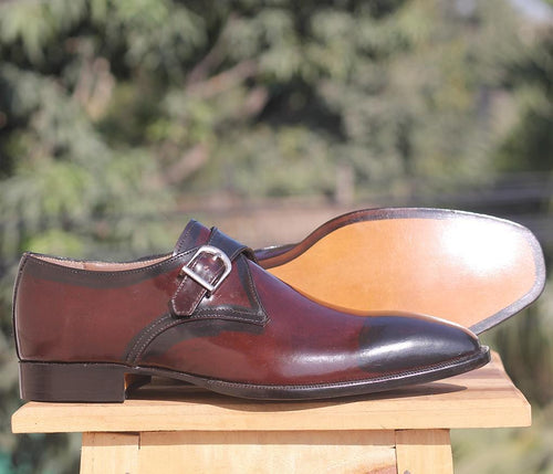 leather404 Clothing, Shoes & Accessories:Men's Shoes:Dress Shoes Burgundy Black Leather Monk Shoes