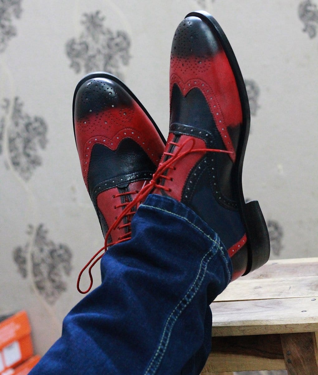 Red Black Wingtip Leather Shoes