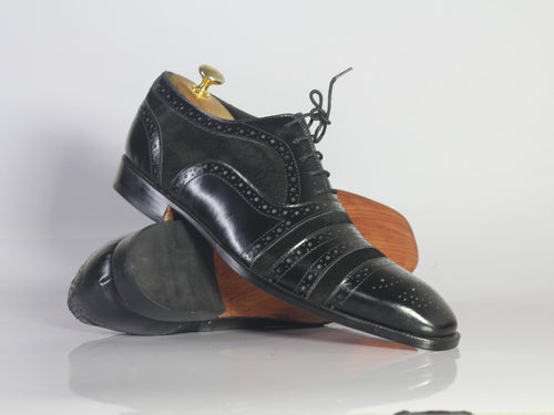 leather404 Clothing, Shoes & Accessories:Men's Shoes:Dress Shoes Handmade Cap Toe Designing Suede Leather Black Shoes