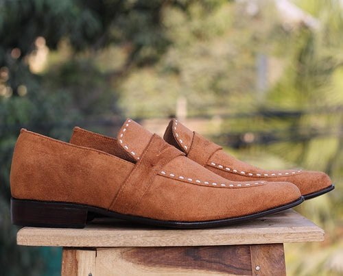 leather404 Clothing, Shoes & Accessories:Men's Shoes:Dress Shoes Tan Penny Loafers Suede Shoes