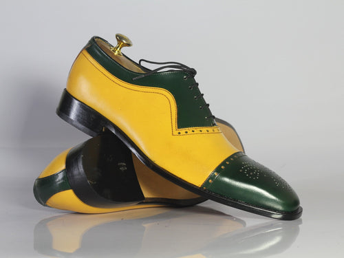 leather404 Clothing, Shoes & Accessories:Men's Shoes:Dress Shoes Handmade Men's Leather , Men's Yellow Green Cap Toe Shoes
