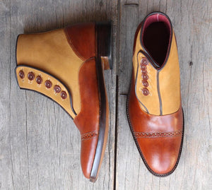 leather404 Clothing, Shoes & Accessories:Men's Shoes:Boots Brown Button top Ankle boots for men's