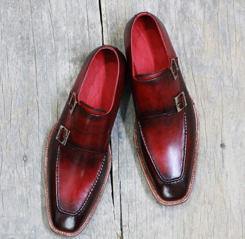 leather404 Clothing, Shoes & Accessories:Men's Shoes:Dress Shoes Men's Burgundy Monk Square Toe Leather Shoes