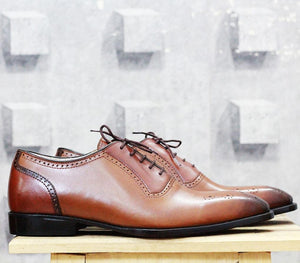 leather404 Clothing, Shoes & Accessories:Men's Shoes:Dress Shoes Brown Brogue Men's Leather Shoes