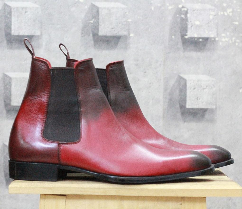 leather404 Clothing, Shoes & Accessories:Men's Shoes:Boots Burgundy Black Chelsea Leather Boot