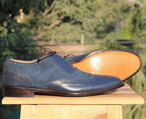 leather404 Clothing, Shoes & Accessories:Men's Shoes:Dress Shoes Leather Suede Navy Blue Wingtip Shoes