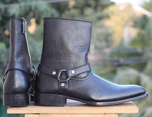 leather404 Clothing, Shoes & Accessories:Men's Shoes:Boots Black Ankle high Side Zipper Leather boots