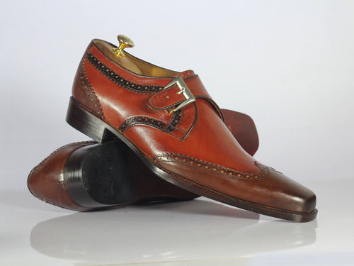 seo text Hand stitched Wing Tip shoes, Dress Brown Monk Shoes Description Condition New With Box Single monk Leather Shoes Brown Leather Boots Boot material genuine Leather interior soft leather Lining Leather Sole Fine stitching Hand stitched Wing Tip shoes, Dress Brown Monk Shoes