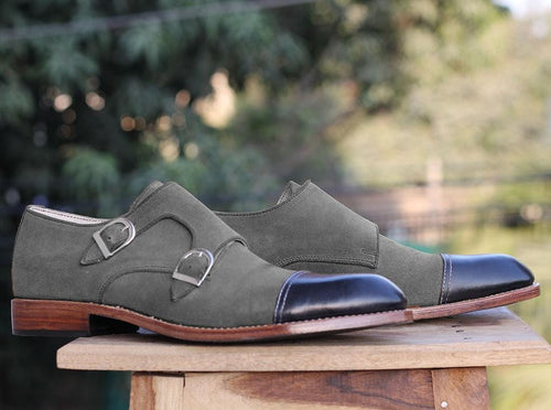 leather404 Clothing, Shoes & Accessories:Men's Shoes:Dress Shoes Black Gray Cap Toe Monk Leather Suede Shoes