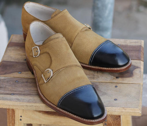 leather404 Clothing, Shoes & Accessories:Men's Shoes:Dress Shoes Handmade Cap toe Monk shoes For Mens