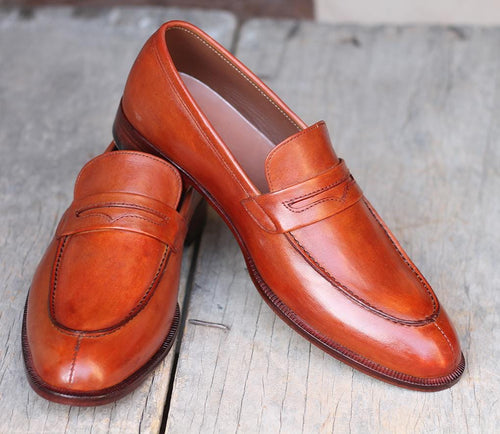 leather404 Clothing, Shoes & Accessories:Men's Shoes:Dress Shoes Tan Split Toe Penny Loafers Leather Shoes