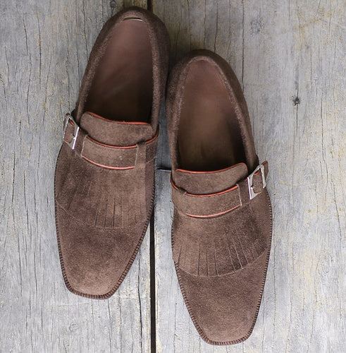 leather404 Clothing, Shoes & Accessories:Men's Shoes:Dress Shoes Brown Suede Fringe Monk Slip On Shoes