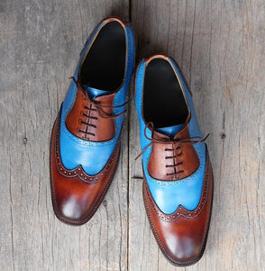 leather404 Clothing, Shoes & Accessories:Men's Shoes:Dress Shoes Handmade Blue Brown Wing Tip Shoes For Men's