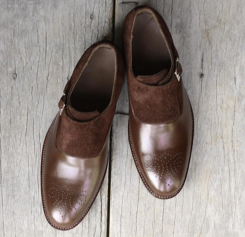 leather404 Clothing, Shoes & Accessories:Men's Shoes:Dress Shoes Handmade Brown Leather Suede Monk Shoes