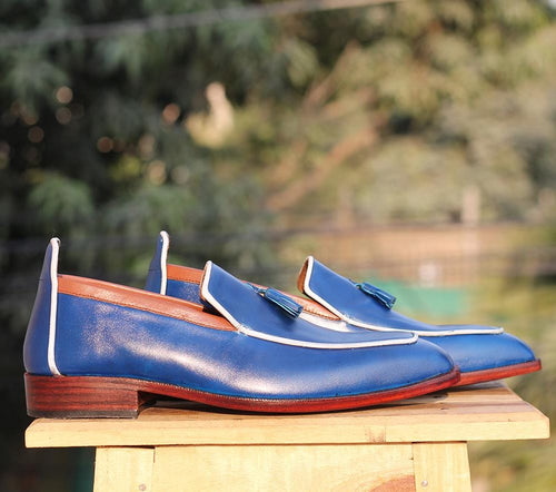 leather404 Clothing, Shoes & Accessories:Men's Shoes:Dress Shoes Handmade Blue Tussles Leather Loafers For Men's
