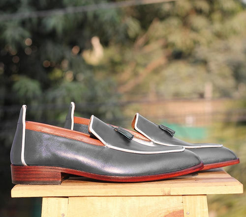 leather404 Clothing, Shoes & Accessories:Men's Shoes:Dress Shoes Handmade Gray Leather Loafers Tussles Shoes