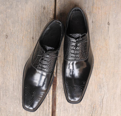 leather404 Clothing, Shoes & Accessories:Men's Shoes:Dress Shoes Alligator Skin texture Black Shoes