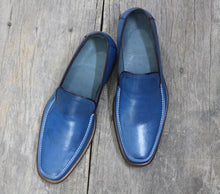 leather404 Clothing, Shoes & Accessories:Men's Shoes:Dress Shoes Handmade Blue Leather Loafers Shoes
