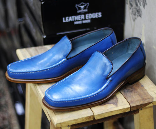 Slippers round toe Two tone Beige dress casual Shoes shoes dress Slippers Men shoes Tussle shoes wingtips shoes mens Shoes Moccasin  Slip ons Two tone Boots fashion Men fashions Designer Boots Tussle shoes Mens Dress Shoes Leather shoes Hand stitched leather shoes Leather Slip on shoes Blue Leather Shoes